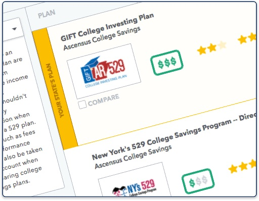Compare 529 plans saving for college for 527 plan